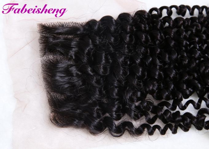 Human Free Part Lace Closure Peruvian Curly Hair Bundles 100% Unprocessed 1